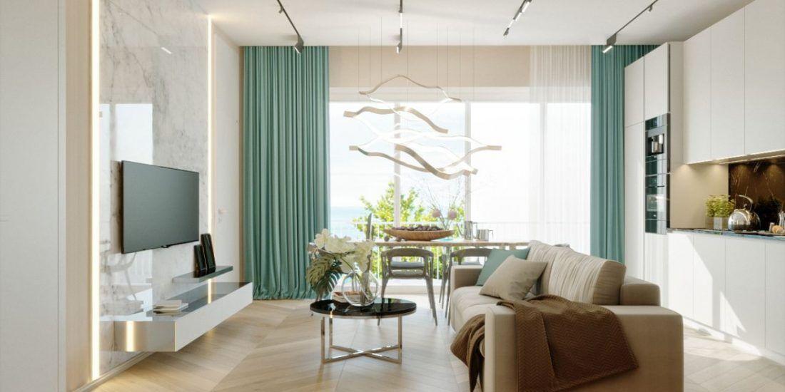 Дизайн кухни-гостиной - Апартаменты ЖК Актер Гэлекси 110 кв.м
