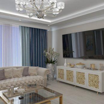 Дизайн гостиной - ТВ-зона - Апартаменты ЖК Каравелла Португалии 300 кв.м
