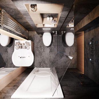 """Дизайн ванной комнаты - ЖК """"Лазурный Берег"""", неоклассика"""