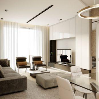 Дизайн гостиной - ТВ-зона - Квартира в ЖК Актер Гэлекси