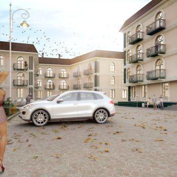 Вид со двора - Комплекс домов Пятиргоф