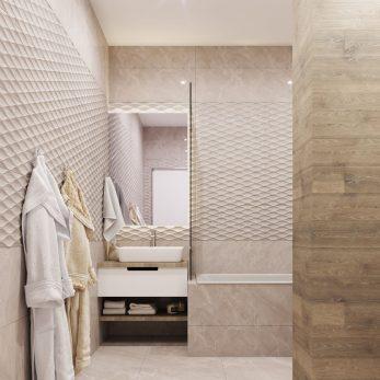 """Дизайн ванной комнаты в ЖК """"Сокол"""" – """"Морской бриз"""". Классический дизайн для молодой семьи."""