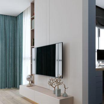 Дизайн интерьера кухни-гостиной - ТВ зона