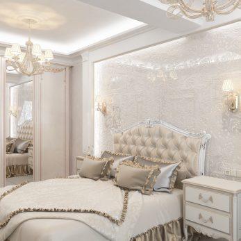 """Дизайн интерьера квартиры в ЖК """"Марина Парк"""" - Спальня в классическом стиле"""