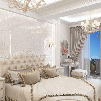 """Дизайн интерьера квартиры в ЖК """"Марина Парк"""" - Вид на кровать"""