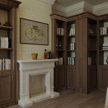 Дизайн библиотеки - Апартаменты ЖК Каравелла Португалии 300 кв.м