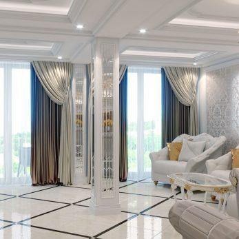 """Дизайн интерьера квартиры в ЖК """"Марина Парк"""" – Вид на гостиную, зону отдыха"""