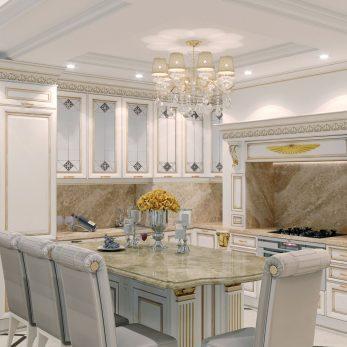 """Дизайн интерьера кухни в ЖК """"Марина Парк"""" – апартаменты Версаче"""