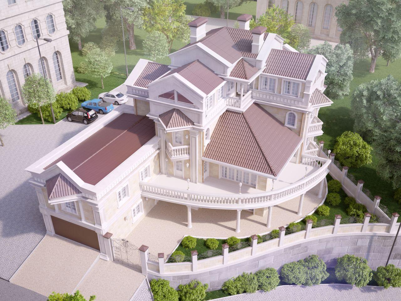 Вид сверху на здание - Дом в английском стиле на Первомайской