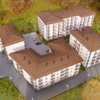 Вид на здание сверху - Комплекс домов Пятиргоф