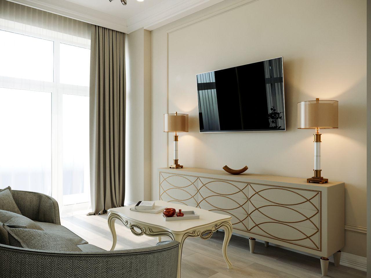Дизайн спальни - ТВ-зона - Апартаменты ЖК Каравелла Португалии 300 кв.м