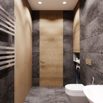 """Дизайн ванной комнаты - ЖК """"Парковая"""", студия в стиле лофт"""