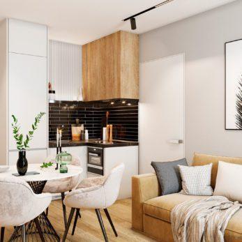 Дизайн кухни и обеденной зоны с элементами лофта