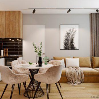 Дизайн кухни и гостиной