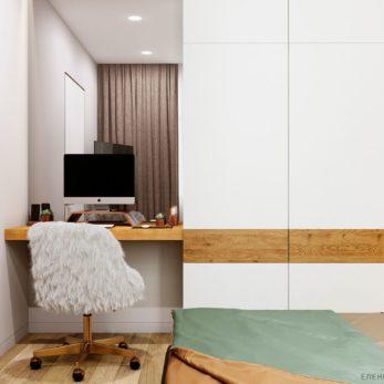 Дизайн спальни и рабочего места с элементами лофта