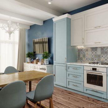 Небольшая квартира в ЖК Огни Сочи - дизайн кухни
