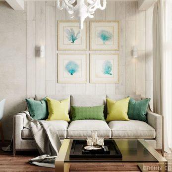 Небольшая квартира в ЖК Огни Сочи - дизайн гостиной (зона отдыха)