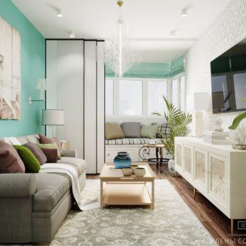 Небольшая квартира в ЖК Огни Сочи - дизайн гостиной