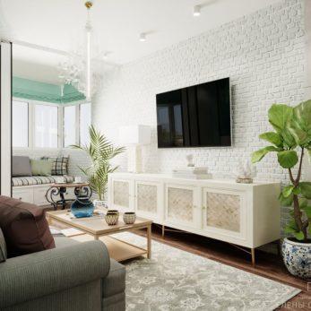 Небольшая квартира в ЖК Огни Сочи - ТВ-зона в гостиной