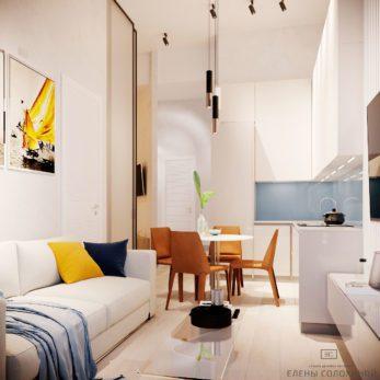 Дизайн проект квартиры - кухня и гостиная