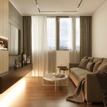 квартира для семьи в классическом стиле с элементами минимализма