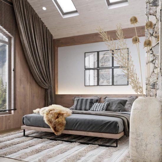 Загородный дом в стиле шале с современным минимализмом