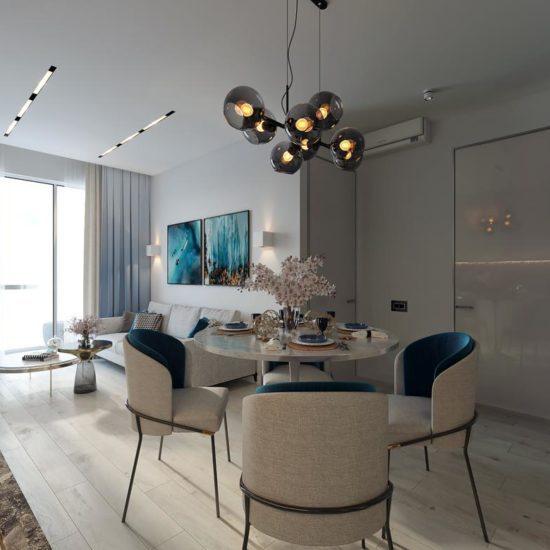 Дизайн квартиры у моря в бело-голубой гамме