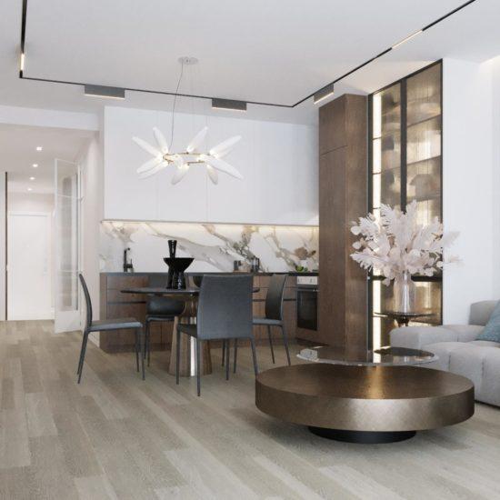 Дизайн квартиры: шпон и керамогранит